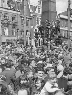 FA Cup Final. West Ham fans welcome the team at Stratford Broadway. 3 May 1964.