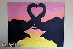 "Unbreakable Bond - 16x20"" Acrylics on Stretched Canvas - Hand Painted Original Art - Capturing the beauty of two elephants in love by Stephanie Billinger"