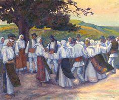Hora (traditional Romanian folk dance) - Camil Ressu (1880-1962) Ukrainian Art, Thing 1, Folk Dance, Animal Masks, Art World, Lovers Art, Wings, Museum, Traditional
