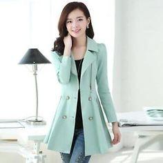 Q219 Coreano para Mujer Largo Entallado Cazadora Chaqueta de Abrigo de Moda para Damas Cazadora