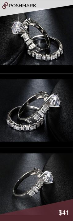 1.3ct AAA Crystal Engagement Wedding Set Platinum. 1.3ct Brilliant Austrian Crystals Engagement Wedding Eternity Ring Set White Gold/Platinum Plated Over Sterling Silver   NWOT Hypoallergenic 💯% Allergy Free Lead Free Nickel Free Multiple Sizes Solitaire-Crown & Bezel Setting  S.925 Sterling Silver  Ring Boxed  Stunning! Jewelry Earrings