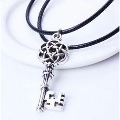 Vintage Key Pendant Unisex Cord Necklace Free Shipping