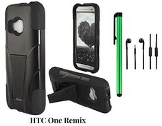 Buy HTC One Remix Phone Case - Premium Heavy Duty Dual Shield Hybrid Protector Case with KickStand (2014 Released; US Carrier: Verizon) + 3.5MM Stereo Earphones + 1 of New Metal Stylus Touch Screen Pen (BLACK) NEW for 14.37 USD | Reusell