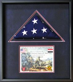 Framed American flag shadowbox.