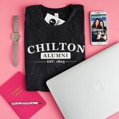 """Gilmore Girls tee """"Chilton Alumni"""" Shirt Charcoal Graphic T-Shirt Tee Shirt Lorelai Gilmore Rory tshirt Stars Hollow shirt gilmore fan gift by UrbanTeeFarm on Etsy https://www.etsy.com/listing/471242816/gilmore-girls-tee-chilton-alumni-shirt"""