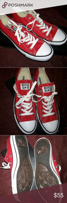 Red Converse These red chucks have never been worn. Feel free to make offers! I have the original box for these shoes. Converse Shoes