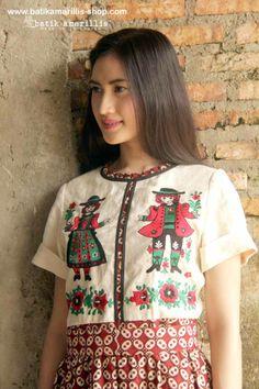 when Indonesia's Traditional textile AKA Batik Indonesia meets Hungarian folk embroidery  www.batikamarillis-shop.com .....Look at the adorable boy & girl wearing Hungarian folk costume!!!