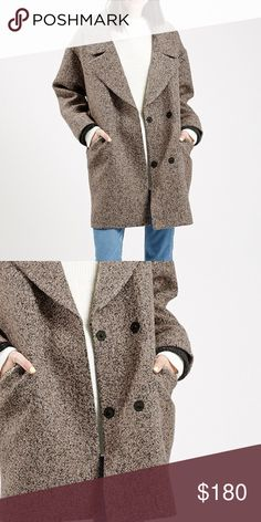 TopShop Amelia Coat NWOT An oversized collar and relaxed fit give this menswear-inspired coat a kicked-back, feminine twist. Contrast rib-knit trim sits just inside the cuffs for a cozy, layered look. Topshop Jackets & Coats Pea Coats