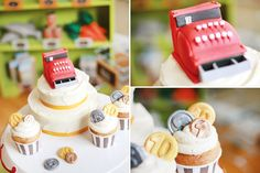 Cash register cake and coin cupcakes