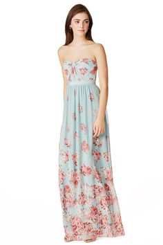 Cascading blooms make this floor length BCBGMAXAZRIA Blossom Festival Gown unforgettable