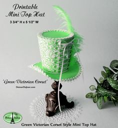 Lime Green Mini Top Hat, Tea Party Hats, Corset Style Mini Top Hat Printable, Alice in Wonderland, Mini Top Hat, Bridal Shower Mini Top Hats by DetourDuJour on Etsy