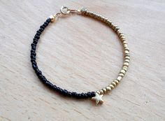 Thin Black Star Seed Bead Bracelet - Tiny Gold Plated Star Simple Minimalist Dainty Small Beaded Stacking Friendship Bracelet Spring Jewelry...