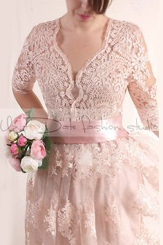 Items similar to Plus Size Lace short dress / blush pink wedding party gown / bridal gown dress with sleeves /romantic dress/beach wedding on Etsy Blush Pink Bridesmaid Dresses, Blush Pink Wedding Dress, Lace Wedding Dress, Short Lace Dress, Blush Pink Weddings, Lace Dress With Sleeves, Wedding Dresses Plus Size, Colored Wedding Dresses, Dress Lace