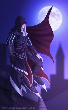 She wanted Ezio in Altair's armor standing over the city like Batman. I am Vengeance. Assassins Creed Comic, Assassins Creed Unity, Assassin's Creed I, Connor Kenway, Infamous Second Son, Undertale Cute, Anime Films, League Of Legends, My Drawings