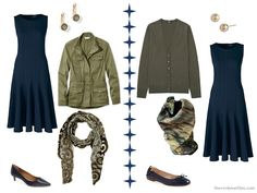 Two ways to wear a navy dress with olive or moss green accents