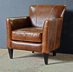 Wallace Classic Leather Club Chair From Abacus Furniture | Handcrafted in Canada. | Available in other fabrics and leathers.