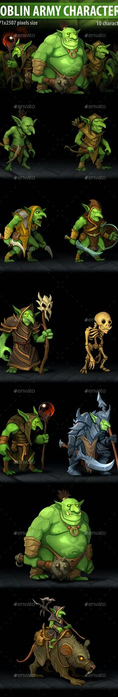 Goblin Army Characters by a-ravlik | GraphicRiver Pixel Size, Mythical Creatures Art, Cg Art, Game Assets, Barbarian, Goblin, Character Design, Characters, Fashion Websites