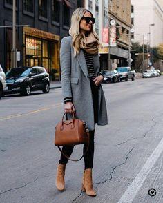 4d8227e5e2ec7 blonde woman wearing zara grey wool coat tan scarf black white striped  sweater black skinny jeans sam edelman cora tan b…