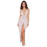 'Sameh'  Grey Silky Jersey Thigh Split Dress - SALE