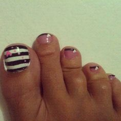 Pink and black toenails