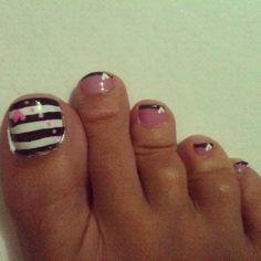 Pink and black toenails