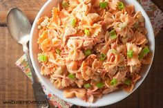 Spicy buffalo chicken pasta salad! Perfect for a summer barbecue! Maybe without the chicken