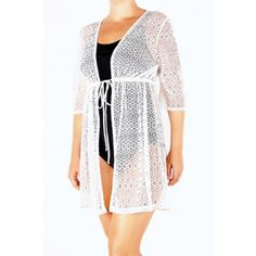 9a0a34af5f Catalina - Women s Crochet Tie-Front Tunic Swim Cover-Up - Walmart.com