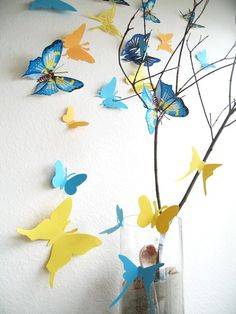 15 3D Paper Butterflies Yellow Orange Blue Wall by SimplyChicLily, $25.00