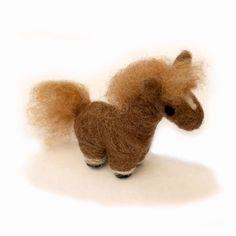 Needle Felted Pony Animal Art Doll Brown and Blond Felt Handmade Small Horse by Karen Watkins kmwatkins on Etsy