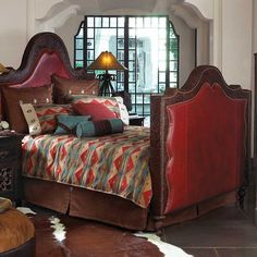 Red Tooled Leather Bed King King Ranch