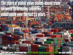 The share of global value chains-based trade between developing countries quadrupled over the last 25 years.  Find out more. Download the #WTO World Trade Report 2014 APP for your tablet.  The app includes the full text of the Report plus the underlying data for all charts and tables in the Report. It also contains a video and photos of the launch event.  The app can be downloaded from the App Store and Google Play for viewing on your iPad or Android tablet.