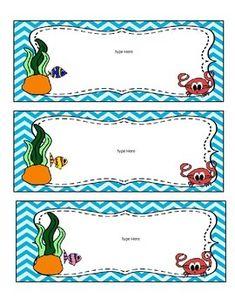 Beach / Ocean Theme Classroom Decor - Editable by Third Grade to the Core | Teachers Pay Teachers Classroom Labels, Classroom Bulletin Boards, Classroom Themes, Binder Folder, Under The Sea Theme, Class Decoration, Community Helpers, Classroom Setting, Ocean Themes