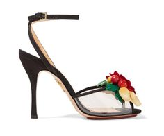 CHARLOTTE OLYMPIA Tropicana embellished canvas and PVC sandals | Buy ➜ https://shoespost.com/charlotte-olympia-tropicana-embellished-canvas-pvc-sandals/