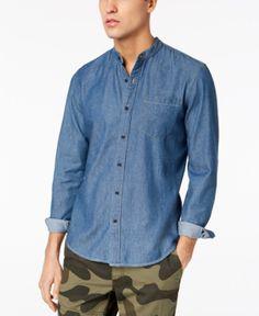 b316af521e American Rag Men s Denim Banded Collar Shirt