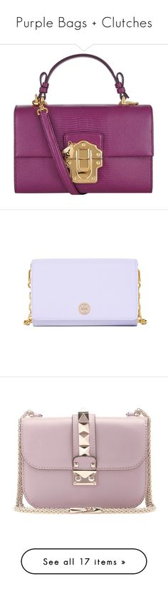 """""""Purple Bags + Clutches"""" by alyssawui ❤ liked on Polyvore featuring bags, handbags, shoulder bags, evening handbags, real leather purses, purple purse, purple handbags, dolce gabbana handbags, chain handle handbags and 100 leather handbags"""