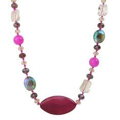 Bella Rose Fashion Long Multi Coloured Crystal And Stone Necklace