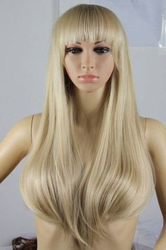 Fashion Fluffy Full Bang Light Blonde Charming Long Straight Synthetic Wig For Women -  LIGHT GOLD Mobile