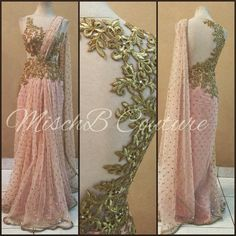 Blush saree gown by MischB couture, desifashion desi style desi couture. Saris, Indian Dresses, Indian Outfits, Pakistani Dresses, Saree Gown, Lehenga, Saree Blouse, Salwar Dress, Net Saree