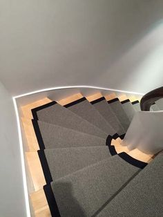 Client: Private Residence In North London Brief: To supply & install grey stair carpet with black border to stairs Grey Stair Carpet, Carpet Stairs, Stairway Lighting, North London, Carpet Runner, Stairways, Sweet Home, Flooring, Runners
