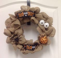 12 Burlap Halloween Wreath by PumpkinBreadDesigns on Etsy, $20.00