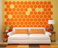 Modern Accessories Orange Color Geometric Wall Decors In Living Room With White Sofa Soft Sponge Of Fabric Complete Cushion Designs. .