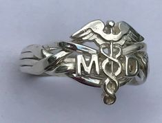 Doctor's Caduceus Ladies' 4 Band Sterling Silver, Gold, or Platinum Puzzle Ring Personalized Jewelry, Custom Jewelry, Green And Gold, White Gold, Puzzle Ring, 925 Silver, Sterling Silver, Silver Engagement Rings, Small Rings