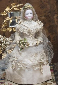 """17"""" (44 cm) Wonderful Antique French Fashion Bisque Smiling Poupee  Doll by Leon Casimir Bru Inspired by Empress Eugenie in original wedding gown!"""