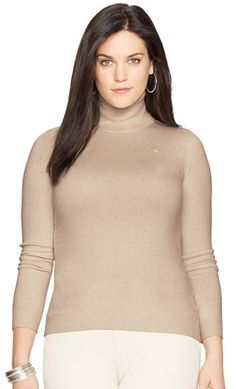 Lauren Ralph Lauren Silk Blend Turtleneck (Plus Size)