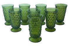 Green Pressed Glass Goblets, S/8 on OneKingsLane.com