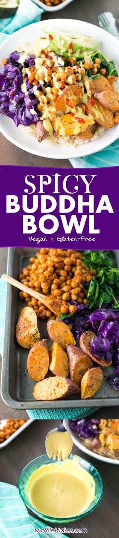 Spicy Buddha Bowl loaded with Brown Rice, Maple Sriracha Chickpeas, Roasted Sweet Potato, Veggies and a creamy Turmeric Tahini Dressing.