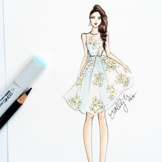 This delicate @redvalentino dress has been haunting my dreams lately #redvalentino #fashionsketch #fashionillustrator #fashionillustration #bostonblogger #copicart #copicdesign #instabraid