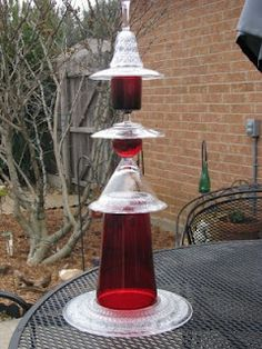 glass garden totems with red glass