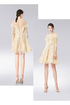 68bcfc00d7e Petite robe bal chic courte col illusion à sequins et franges avec manches