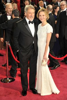 On the Red Carpet at the Oscars -2014 - Harrison Ford in Giorgio Armani with Calista Flockhart.